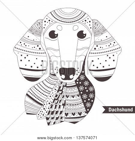 Dachshund. Coloring book for adult, antistress coloring pages. Hand drawn vector isolated illustration on white background. Henna mehendi, tattoo sketch