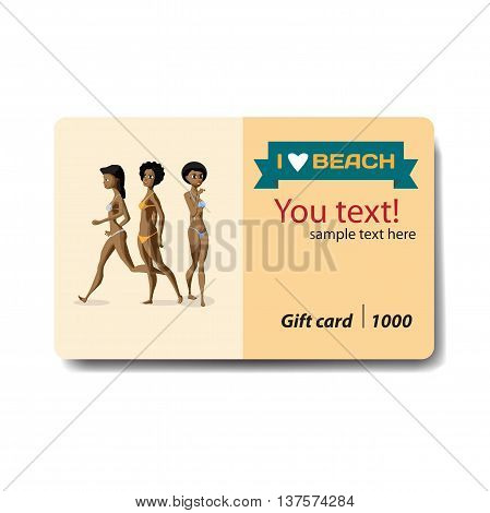 Women afro dressed in swimsuit. Sale discount gift card. Branding design for swimwear and lingerie shop