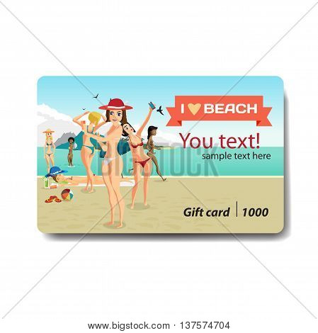 Group of women bathing and sunning on the beach. Sale discount gift card. Branding design for travel agency