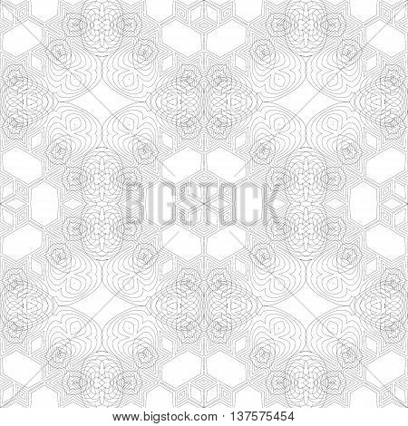 Seamless Texture. Element for Design. Ornamental Backdrop. Pattern Fill. Ornate Floral Decor for Wallpaper. Traditional Decor on White Background