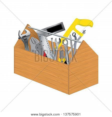 Wooden tool box with object tool on white background.
