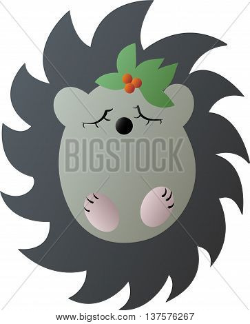 Drawing of a cute cartoon gray hedgehog with green leaves and red berries on a head