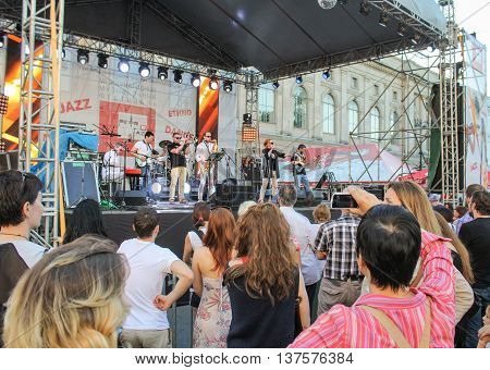 St. Petersburg, Russia - 2 July, People at the concert of jazz group, 2 July, 2016. Annual international festival of jazz and blues in St. Petersburg.