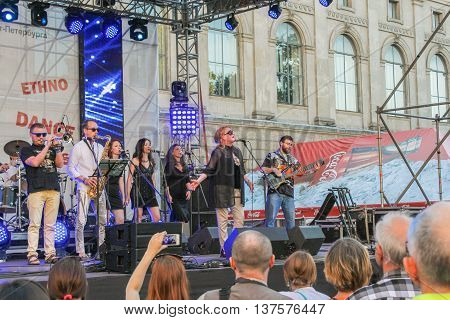 St. Petersburg, Russia - 2 July, Musicians in the open air,  2 July, 2016. Annual international festival of jazz and blues in St. Petersburg.