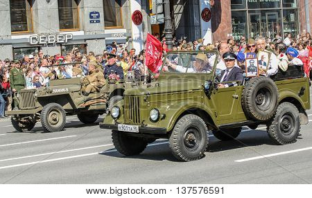 St. Petersburg, Russia - 9 May, Soviet and American military machine, 9 May, 2016. Memory Action