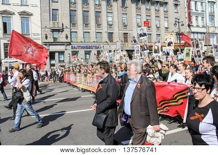 St. Petersburg, Russia - 9 May, The line of people with a long banner, 9 May, 2016. Memory Action