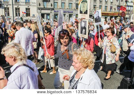 St. Petersburg, Russia - 9 May, People with photos of war dead, 9 May, 2016. Memory Action