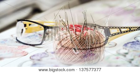 Gice glasses black and yellow frame for low vision and pincushion collage