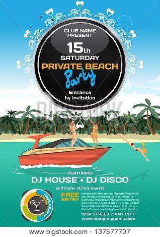 Vector summer party invitation. Women in bikini riding on a motorboat. Posters invitations or flyers.