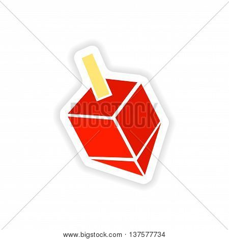 paper sticker on white background  Jewish dreidel