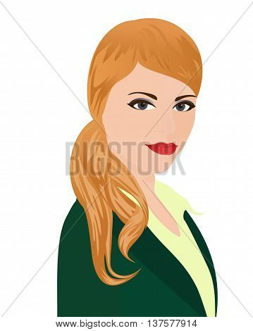 The portrait of PR-manager. Specialist in public relations in green office suit on white background. Isolated vector illustration. Vertical location.