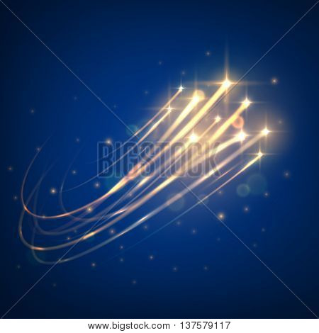 Starry space seamless pattern background of bright shining meteors flying through the dark blue sky with glowing sparkles of stars. Use as cosmic theme or romantic backdrop design