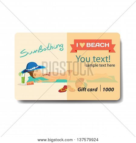 Woman sunbathes on the beach on sand. Sale discount gift card. Branding design for cosmetics store