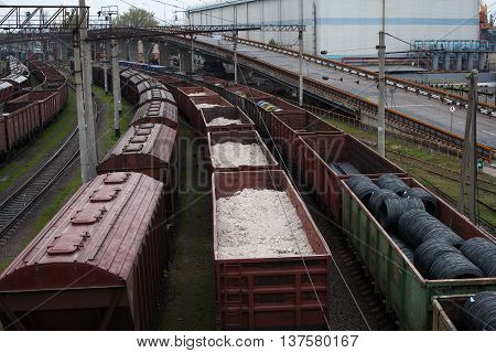 Freight trains on city cargo terminal Summer