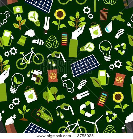 Eco friendly and saving energy seamless pattern background with electric cars, bicycles and bio fuel, solar panels, wind turbines and light bulbs, fuming pipes of industrial plant and radioactive waste, recycling symbols, trees and flowers