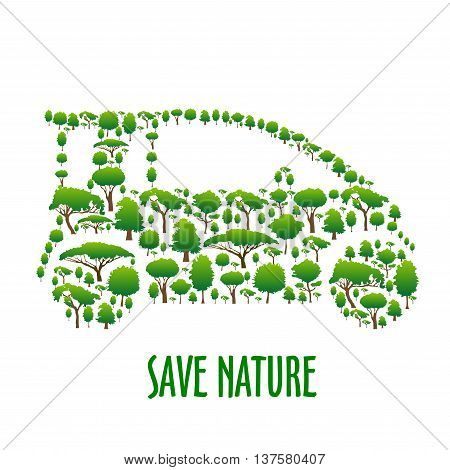 Green trees icons creating a silhouette of modern eco friendly car. Green vehicle theme, save nature concept or t-shirt print design
