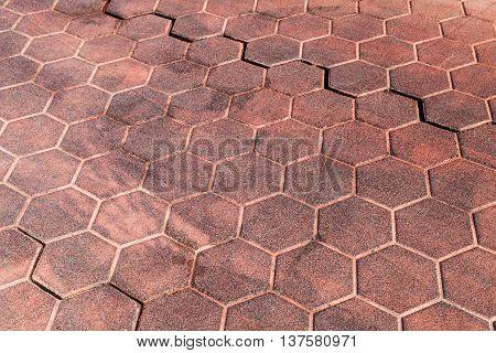 Red Honeycomb Cobblestone Pattern, Texture
