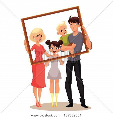Portrait of happy family holding frame, cartoon vector illustrated isolated on white background. Family portrait of smiling father, mother, daughter and son standing and holding frame