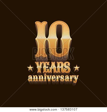 10 years anniversary vector logo. 10th birthday design sign in gold