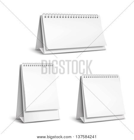 Three vertical and horizontal realistic standing blank spiral table calendars of different size on white background isolated vector illustration