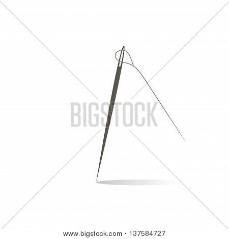 Needle With Thread On White Background Flat Style