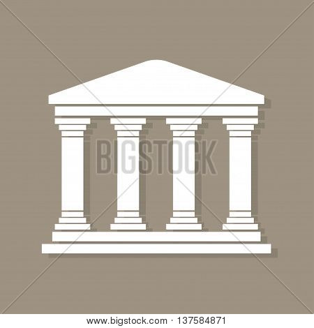 Architecture Greek Building Symbol, With Shadow, Structure Pillars, Ancient Architecture Monument Ic