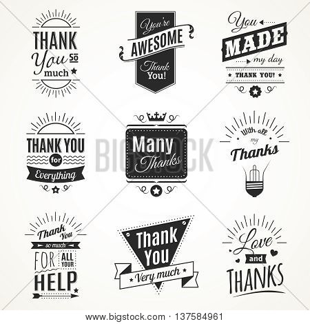 Monochrome collection of nine vintage thank you signs with sun light elements in retro font style isolated vector illustration