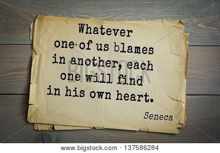 Quote of the Roman philosopher Seneca (4 BC-65 AD). Whatever one of us blames in another, each one will find in his own heart.