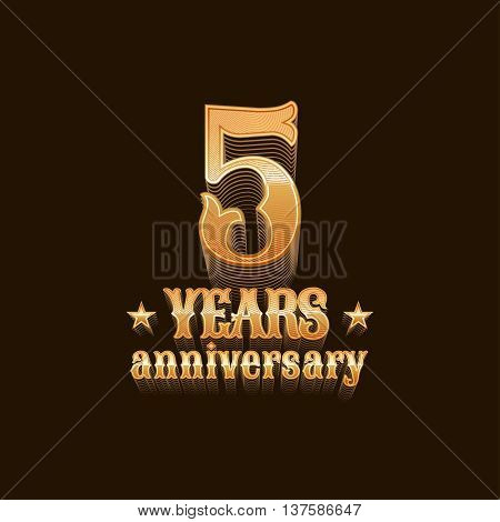 5 years anniversary vector logo. 5th birthday design sign in gold
