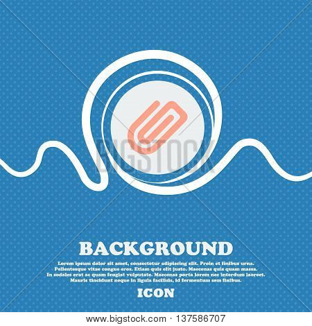 Paper Clip  Sign Icon. Blue And White Abstract Background Flecked With Space For Text And Your Desig