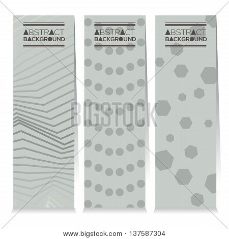 Vertical Banner Set Of Different Three Style Modern Graphic Theme Vector Illustration. EPS 10