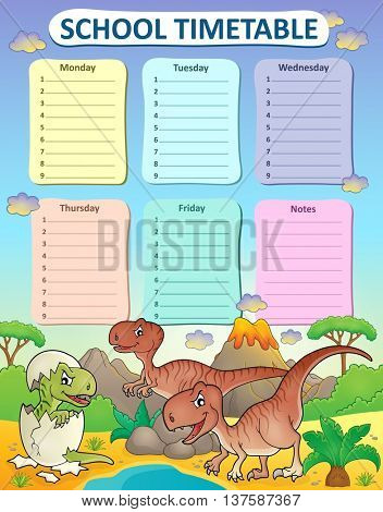Weekly school timetable thematics 3 - eps10 vector illustration.