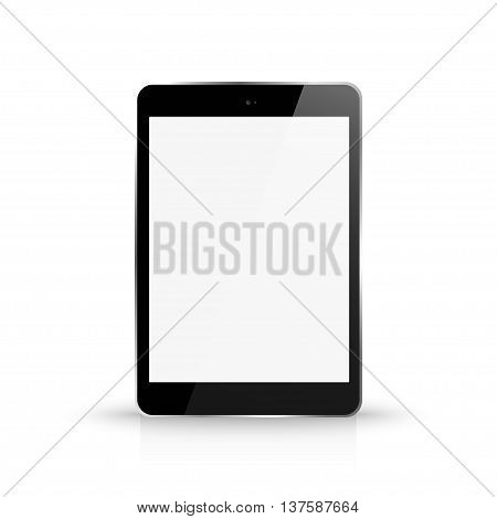 Tablet With Blank White Screen Front View