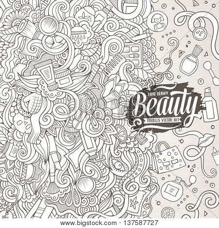 Cartoon cute doodles hand drawn cosmetics frame design. Line art detailed, with lots of objects background. Funny vector illustration. Sketchy border with beauty theme items