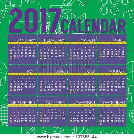 2017 Printable Calendar Starts Sunday Tennis Graphic Vector Illustration. EPS 10