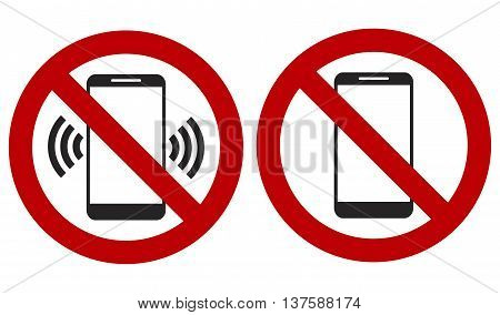 Ban On Phone Mobile, Set With Signs Vector Illustration