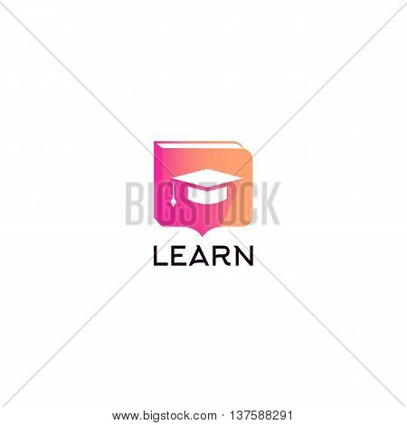 Isolated student hat vector logo. Studying logotype with learn writing. Education icon