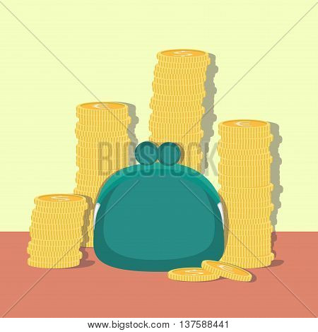 Purse with coins on simple background. Vector illustrations.