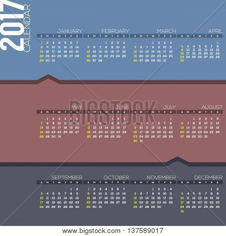 2017 Printable Calendar Starts Sunday Vector Illustration. EPS 10