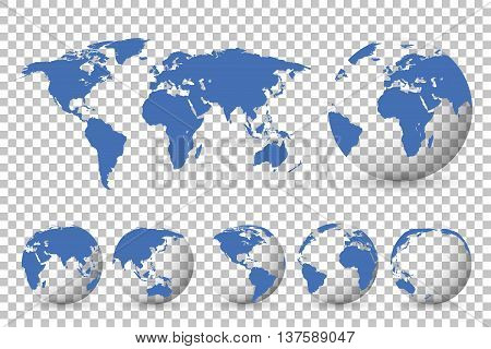 Set Of Globes With Different Continents And A Map Earth