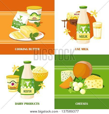 Milk and cheese 2x2 design concept set of dairy products with kefir and milk bottles cooking butter yogurt curd flat vector illustration