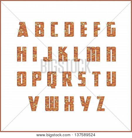 brick wall alphabet. the capital letters of the Latin alphabet stylized in the form of a bricklaying