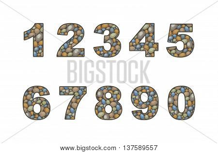 large pebble  numeral stylized in the form of a stone laying