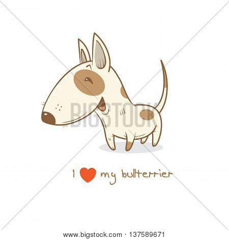 Card with cute cartoon dog breed  bull terrier. Children's illustration. Little puppy. Funny baby animal. Vector image.
