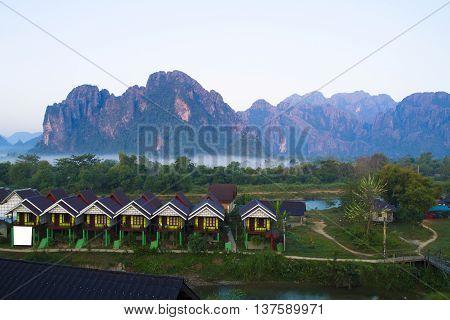 Sunset scene in The Vang Vieng Laos.