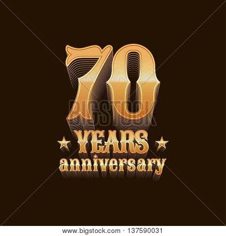 70 years anniversary vector logo. 70th birthday decoration design element sign emblem symbol in gold