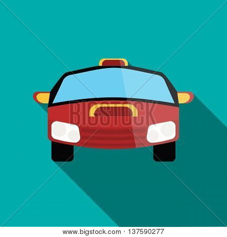 Red racing car icon in flat style on a turquoise background