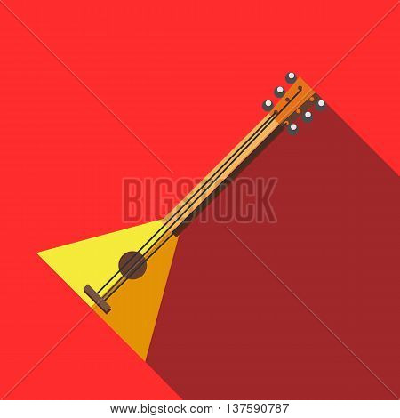 Balalaika icon in flat style on a red background