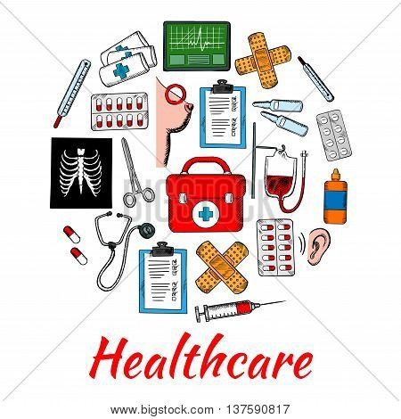Stethoscope and thermometers, pills and syringe, medical examination forms, breast cancer and hearing tests, first aid kit, medicine bottles, blood and bandages, electrocadiogram and xray scan sketch icons shaped as circle for healthcare design