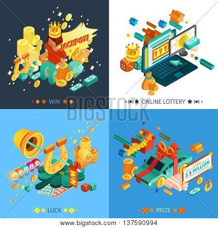 Lottery and jackpot concept icons set with luck and prize symbols isometric isolated vector illustration